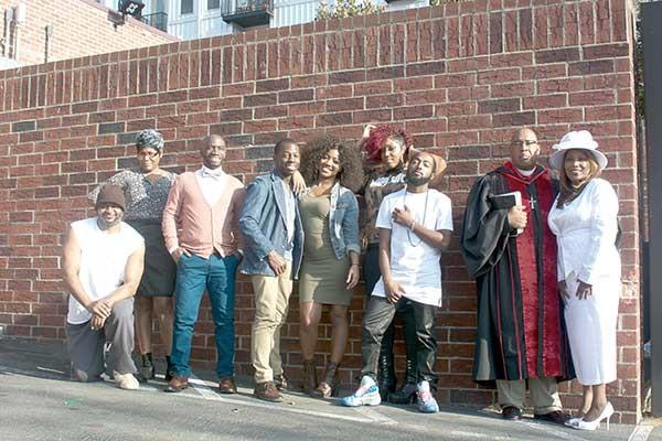 A Walk in My Shoes cast from left: Kyran McShaw (Mr. Jimmy), Gail Ford (Ms. Wynetta), Elijah Ali (Travis), Keon Sunkins (O'Neal), Tiffanie McCall (Bonnie),  Tara Anderson (Ms. Kara), Quinn Marques (Maseo), Clifford Matthews (Pastor Gary Rutherford), and Myrna Key-Parker (First Lady Rutherford). - MOYÉ.