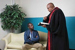 Pastor Gary Rutherford (played by Matthews) preaches to O'Neal (Sunkins). - MOYÉ