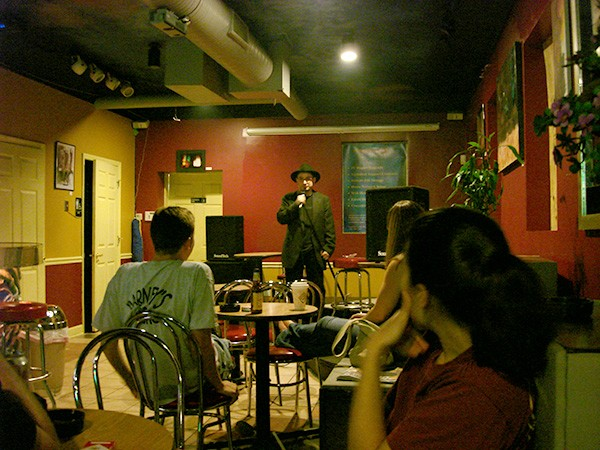 Valencia performs at an open-mic night at the SK Netcafe in 2006.