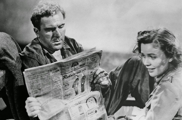 William Bendix, Mary Anderson and (cameo alert!) Alfred Hitchcock in Lifeboat (Photo: Kino)