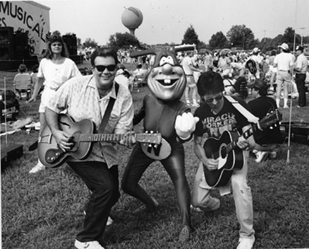 Grooms (left) and CL music editor Fred Mills rock out in the Loaf's early years.