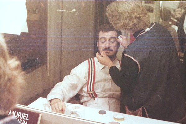 Tannenbaum, in 1984, getting made up to star as Alistair Ross in Crucifer of Blood.