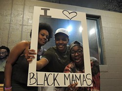 [From left] Ashley Williams, Joie Shakur and Gloria Merriweather at a Black Mamas Bail Out kickoff party. Photo by Ryan Pitkin.