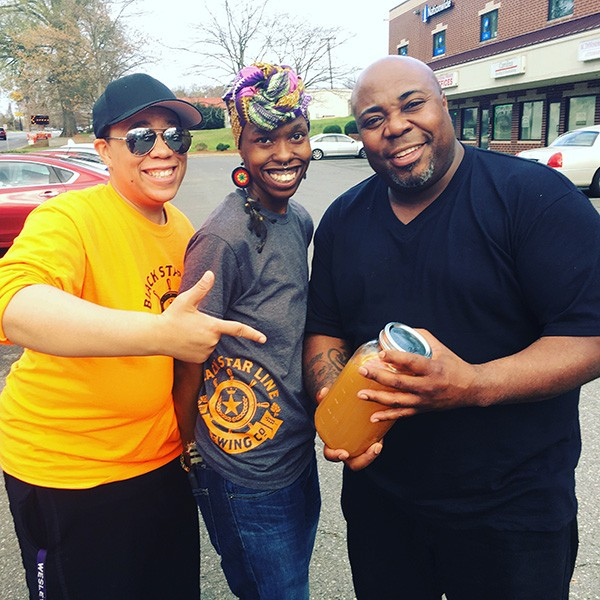 [From left] L.A. McRae, Ekua Adisa McRae and local comedian NuffCed at a recent Black Star Line tasting.