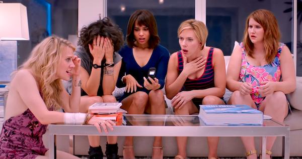 Kate McKinnon, Ilana Glazer, Zoe Kravitz, Scarlett Johansson and Jillian Bell in Rough Night (Photo: Columbia)