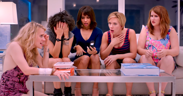 Kate McKinnon, Ilana Glazer, Zoe Kravitz, Scarlett Johansson and Jillian Bell in Rough Night (Photo: Columbia)