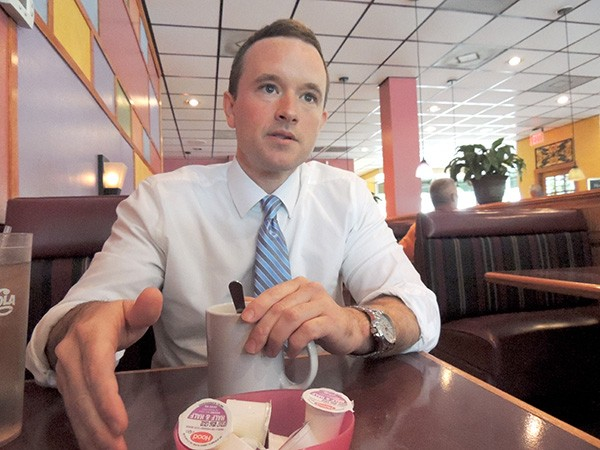 Matt Newton speaks about his campaign at Parkway House Family Restaurant in District 5. (Photo by Ryan Pitkin)