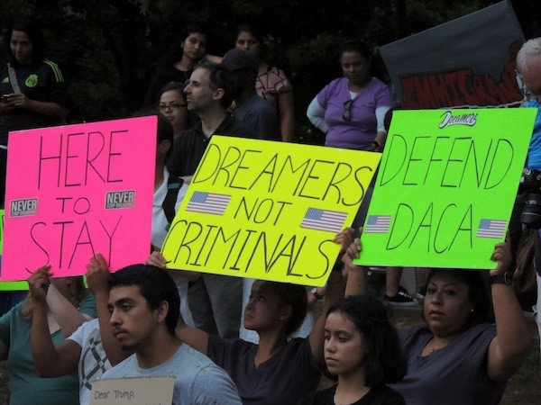 DACA supporters at a rally in Marshall Park on Sept. 5.