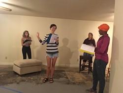 Revolutionaries Rehearse [from left]: Sarah Woldum, Caroline Bower, Shawnna Pledger and Lydia Williamson. (Photo by Nicia Carla)