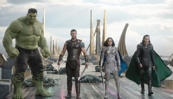 Mark Ruffalo, Chris Hemsworth, Tessa Thompson and Tom Hiddleston in Thor: Ragnarok (Photo: Marvel)