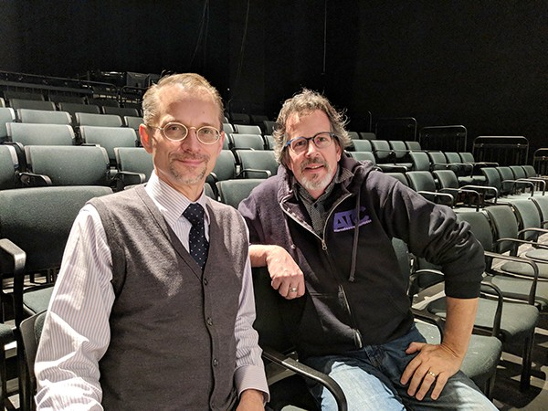 John Sisko (left), the dean of Queens University's College of Arts & Sciences, with ATC executive director Chip Decker. (Photo by Carrie Cranford)