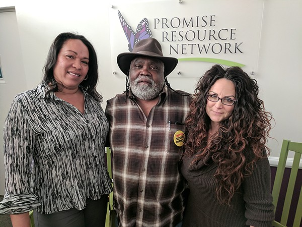 [From left] Gensie Baker, James Searcy and Cherene Caraco with Promises Resource Network.