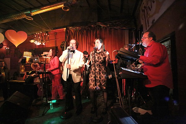 Hardcore Lounge plays last year's Valentine's Day party at Snug Harbor. [Left to right] Mary Massie, Wes Johnson, Marco Heeter, Jen Hatley and Chris Johnson. (photo by Kim Hutchinson)