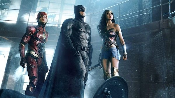 Ezra Miller, Ben Affleck and Gal Gadot in Justice League (Photo: Warner & DC)