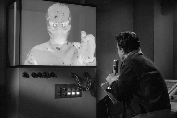 "Cliff Robertson and ""The Galaxy Being"" in the first episode of The Outer Limits (Photo: Kino & MGM)"