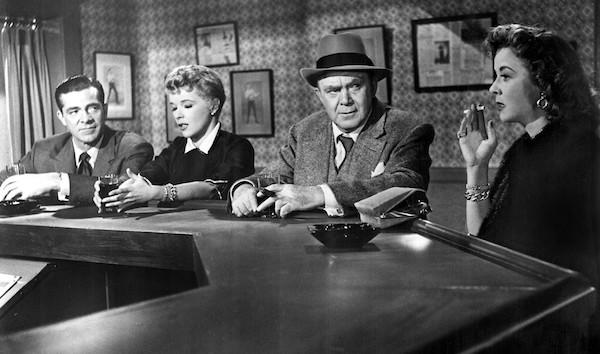 Dana Andrews, Sally Forrest, Thomas Mitchell and Ida Lupino in While the City Sleeps (Photo: Warner)