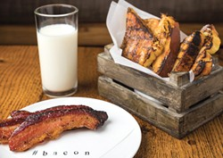 The famous thick-cut bacon from littleSpoon with french toast and milk.