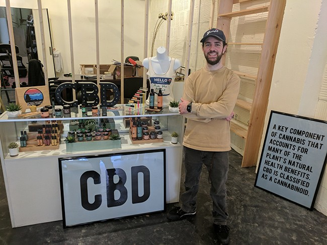 Will Oseroff of Blue Ridge Hemp Company is building out a bigger storefront in his space, connected to a t-shirt shop in Asheville.