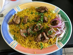 Lamb off the kabob at La Shish Kabob.