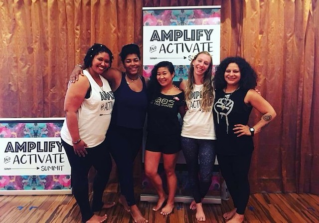 Simthong (center) at a recent panel event with (from left) Jasmine Hines, Kelly Carboni-Woods, Grace Millsap and Vivian Selles. (Photo courtesy of Amplify & Activate)