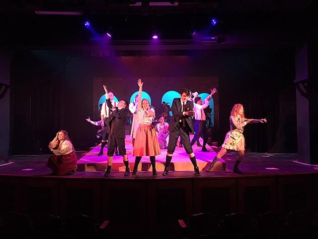 Front left to right: Emily Roy, Patrick Stepp, Renee Rapp, Liam Pearce, Jocelyn Cabaniss. Back row left to right: Daniel Hoffman, Morgan Wakefield, Maya Sistruck, Carlos Jimenez. (Photo by Chris Timmons/Theatre Charlotte)