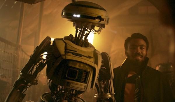 Lando Calrissian (Donald Glover) and the insufferable L3-37 (Photo: Lucasfilm & Disney)