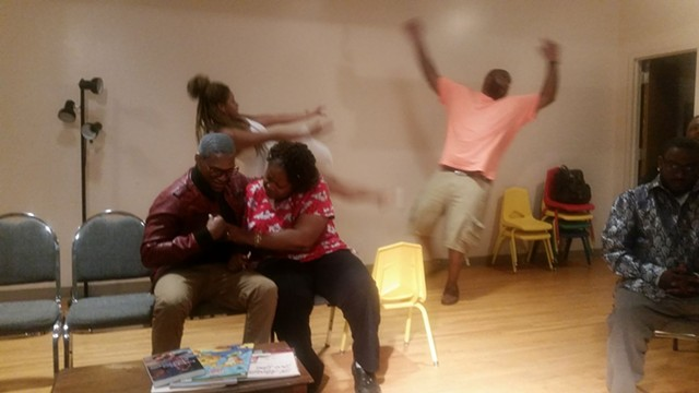 Leonce Wilkins, Xavier Medley, Jethro Richardson and Nakia Savage at a recent rehearsal for 'Stuck.'