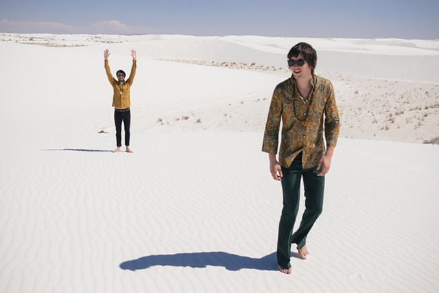 Shadowgraphs' Bryan Olson (background) and Wils Glade find inspiration in the desert. (Photo courtesy of the band.)