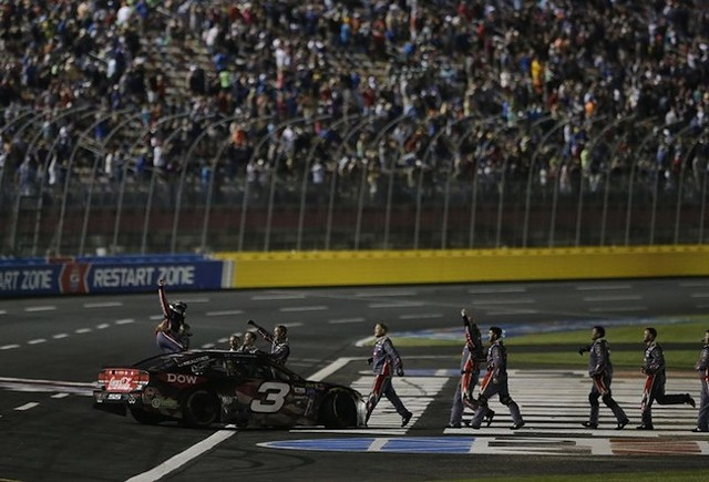 Austin Dillon celebrates after winning last year's Coca-Cola 600. (Photo courtesy of Charlotte Motor Speedway)