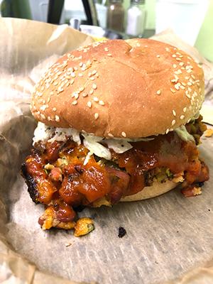 A BBQ Bean Burger at NoDa Bodega's Vegan Night. (Photo by Sophie Whisnant)