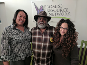 Promise Resource Network staff members (from left) Gensie Baker, James Searcy and Cherene Caraco. (Photo by Ryan Pitkin)