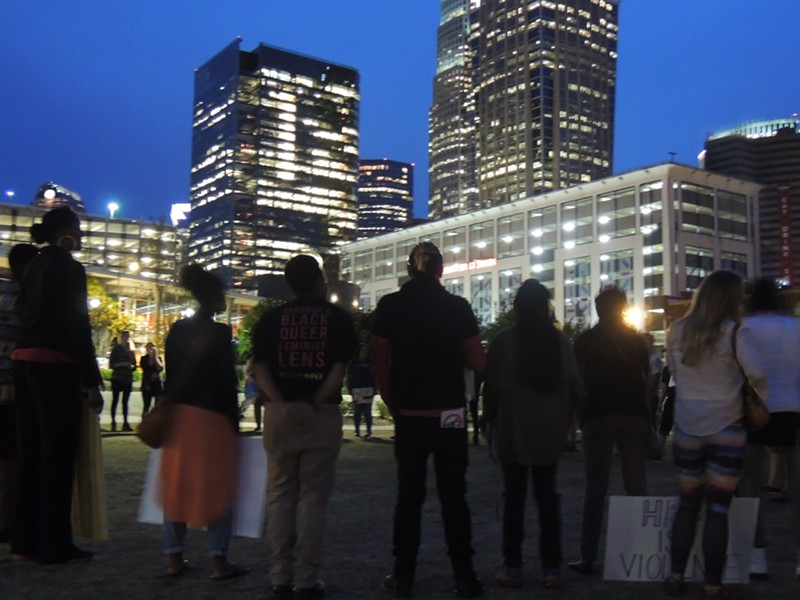 The group marched peacefully back to First Ward Park just after 8 p.m. and rallied before heading home. - RYAN PITKIN