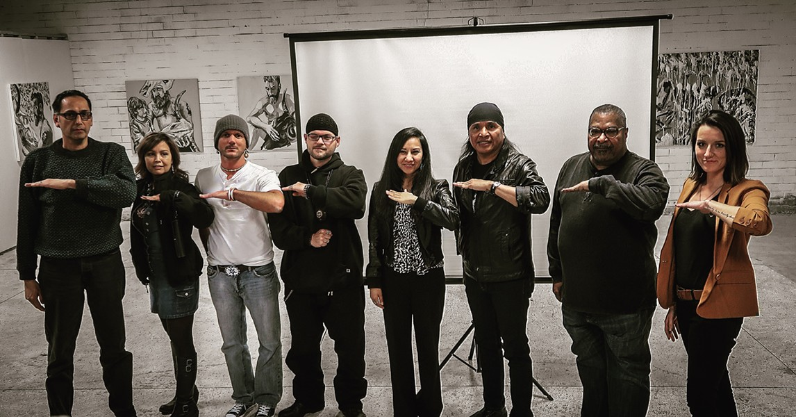 Greeson (third from left), pictured at a Save Oak Flat event in Charlotte earlier this year, will be joined by Perry Eastman (far left), chair of All Nations United, and Toni Henderson, chair of the Metrolina Native American Association, for a panel discussion at CPCC on Wednesday. Photo by Ally Frederick.