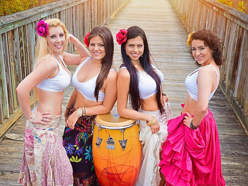 Bongó Bembé are Andrea, Ana, Paola and Lizbeth. The group will perform at the June 3 'Latin Night in Plaza Midwood.' (Photo courtesy of Paola Montoya)