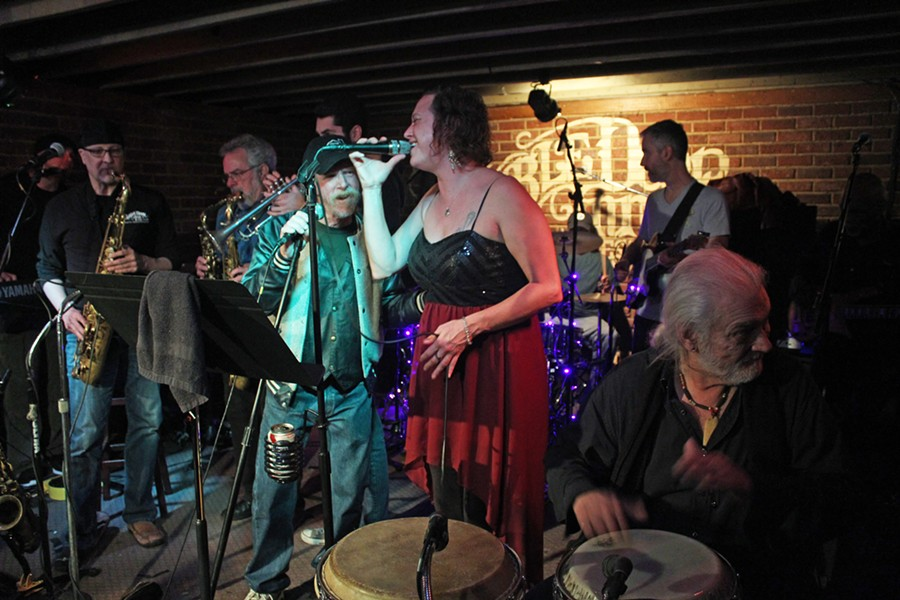 The Monday Night Allstars earlier this year performed the final night of the Double Door Inn (with guest Lenny Federal in the baseball cap). (Photo by Daniel Coston)