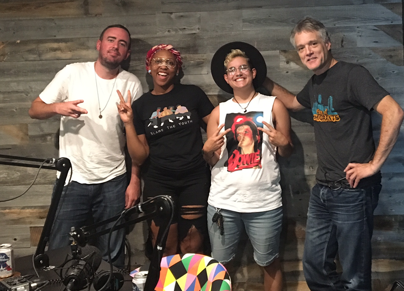 Daniel (second from left) arrived at CL's 'Local Vibes' podcast the morning after the shoot showing off her freshly Band-Aided nose. Listen to the podcast here. (Amber Daniel and Francisco Gomez are flanked by CL's Ryan Pitkin and Mark Kemp)