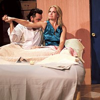 "Robert Lee Simmons as ""He"" and Lisa Hugo as ""She"" in Stage Kiss. (Photo by George Hendricks Photography)"