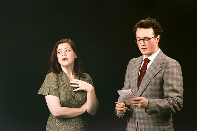 Lisa Hatt as Mollie Ralston (left) and Cole Pedigo as Detective Sergeant Trotter. - (Photos by Oxfordian Kissuth)