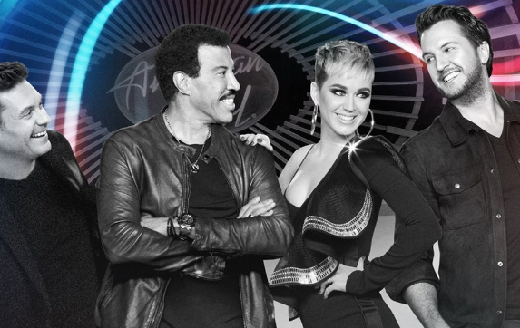 The host and judges of American Idol, from left to right, Ryan Seacrest (host), and Lionel Richie, Katy Perry and Luke Bryan. (Courtesy of ABC)