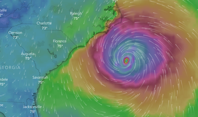 Hurricane Florence's position as of approximately 10 a.m. Thursday. (Photo Courtesy of Windy.com)