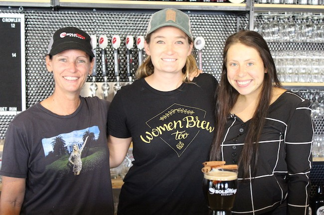 (From left) Owner Carol Waggener, brewmaster Carli Smith and Opera Carolina marketing manager Stephanie Vitale.