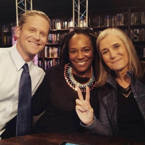 James Tyson (left) and Bree Newsome (center) pose with Amy Goodman of Democracy Now! - PHOTO COURTESY OF JAMES TYSON