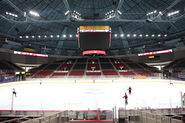 A look at the renovated Bojangles Coliseum as the Charlotte Checkers practice on Nov. 4, 2015. - PHOTO BY JEFF HAHNE