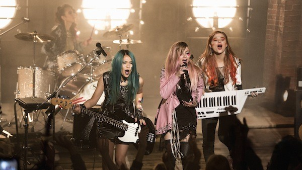 Aurora Perrineau, Hayley Kiyoko, Aubrey Peeples and Stefanie Scott in Jem and the Holograms (Photo: Universal)
