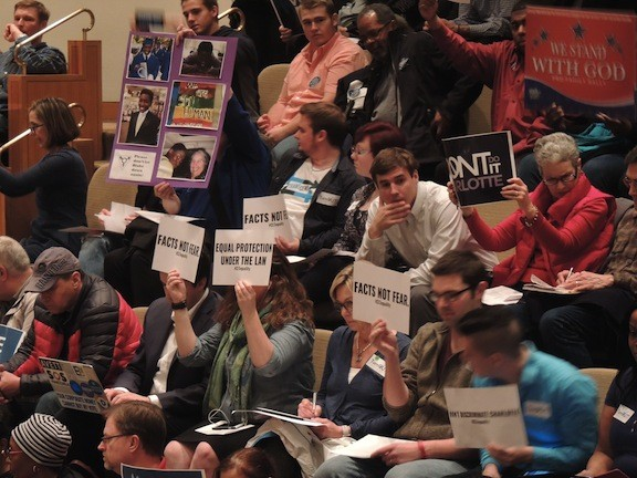 About 250 people packed into the city council chambers for the hearing on a nondiscrimination ordinance. - PHOTO BY RYAN PITKIN