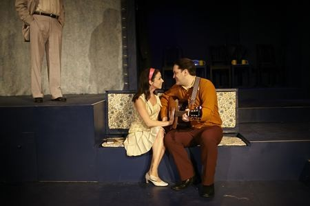Cassandra Howley Wood as Daphne and Christopher Ryan Stamey as Harold in Fly by Night. (Photo by George Hendricks Photography)