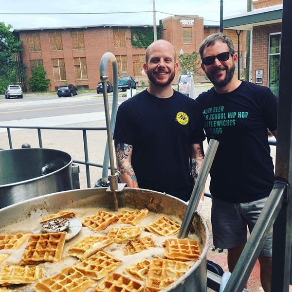 L to R: Jeff McElwee of Fud at Salud and Denny Deaton, brewer at Salud, brew Wafflemania.