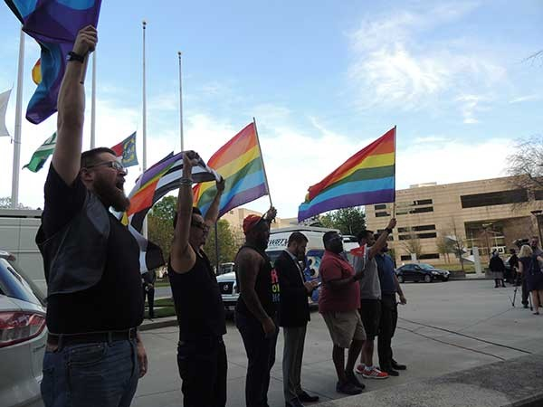 Protesters in front of the Charlotte-Mecklenburg Government Center after House Bill 2 was passed in March. - RYAN PITKIN