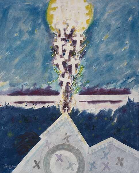 Leo Twiggs (1934- ), Requiem for Mother Emanuel #8, 2016, batik on cotton. The Johnson Collection. (Photo credit: SailWind)