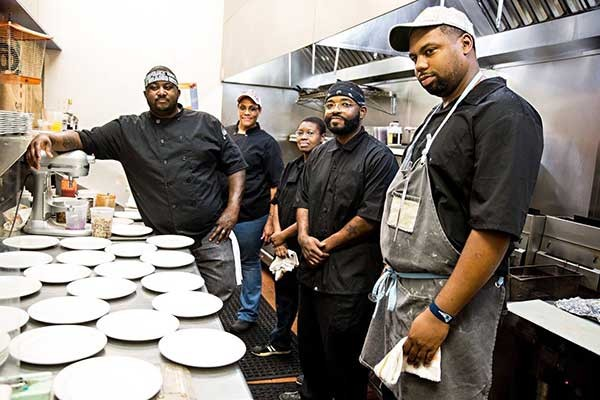Soul Food Chefs (from left): Jamie Barnes Jamie Suddoth, Sam Dotse, Greg Williams and Gregory Collier.
